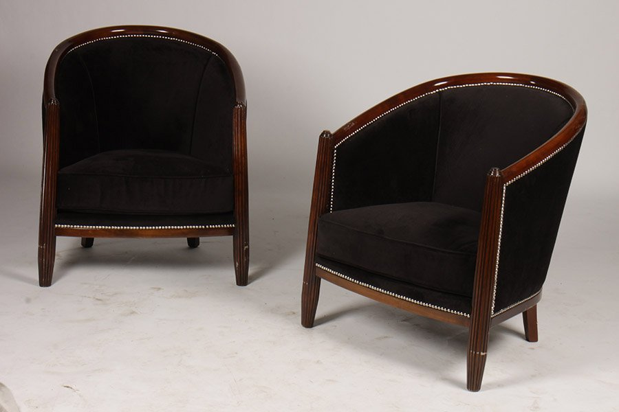 PR OF ART DECO STYLE CLUB CHAIRS BARREL BACK