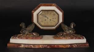 MARBLE ONYX MANTLE CLOCK HENRI MARC PARIS C.1920