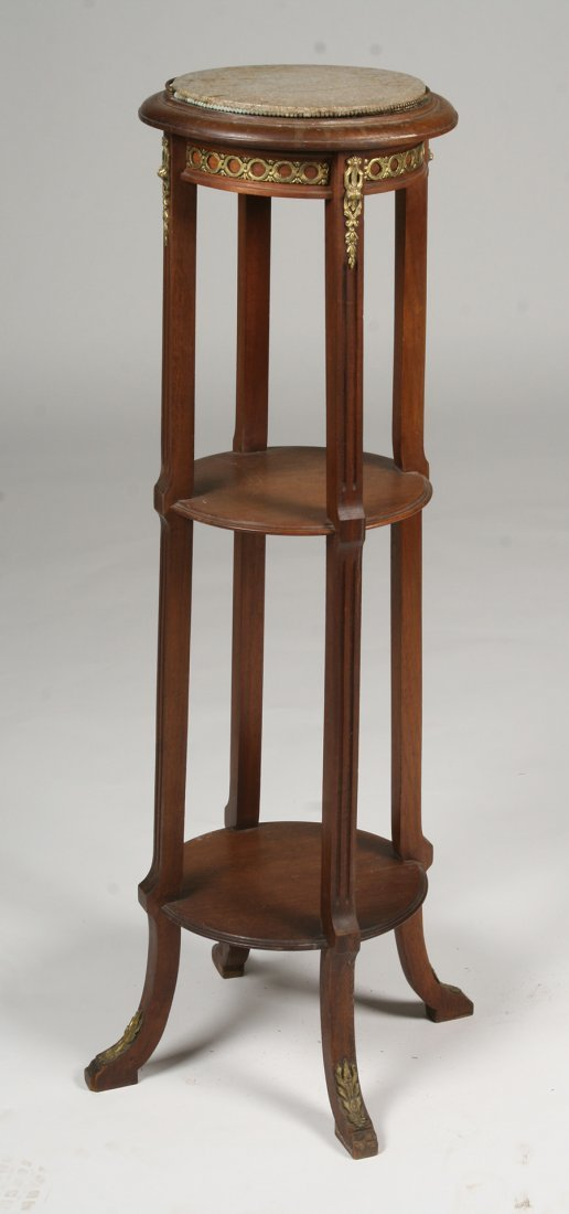 EMPIRE STYLE MARBLE TOP PEDESTAL C. 1910