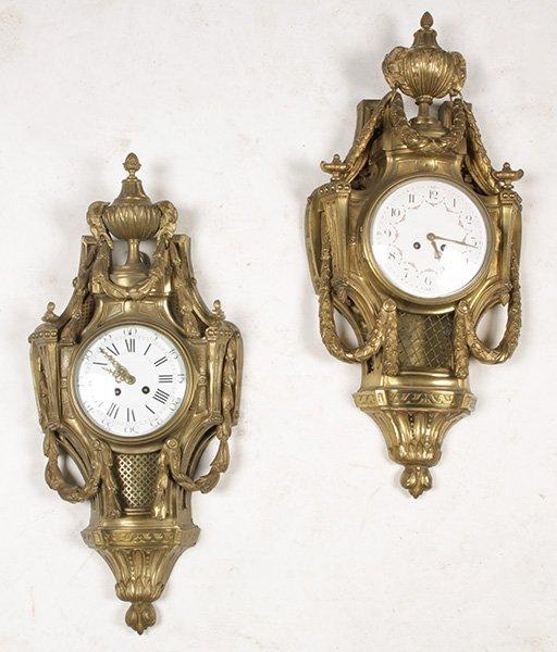 TWO FRENCH BRONZE CARTEL CLOCKS CIRCA 1880