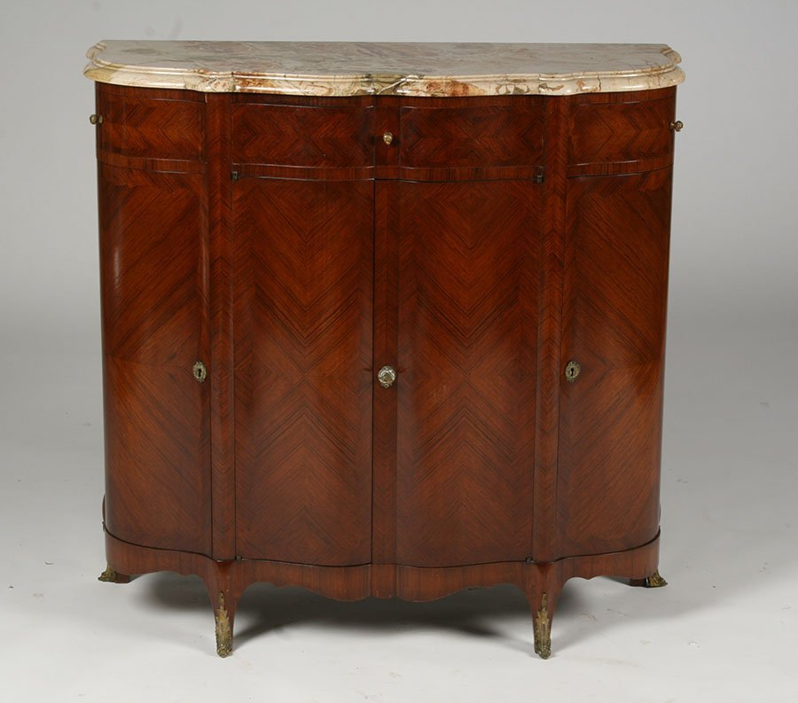 MARBLE TOP SERPENTINE FORM FRENCH CABINET 1910