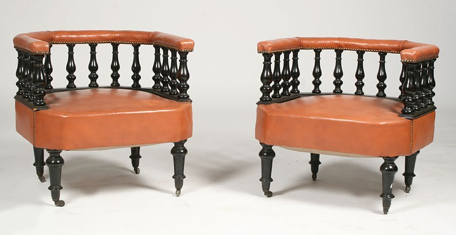 PR OF FRENCH NAPOLEON III LIBRARY CHAIRS 19TH C.