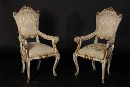 PR 19TH C. ITALIAN GILTWOOD CARVED PAINTED CHAIRS