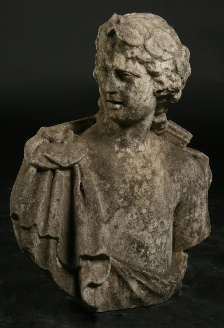 CARVED MARBLE NEOCLASSICAL BUST EARLY 19TH C.