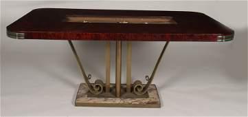 ART DECO MAHOGANY MARBLE IRON DINING TABLE C.1930