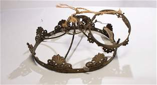 ANTIQUE BRONZE CHANDELIER FRAME 2 TIERS 1910