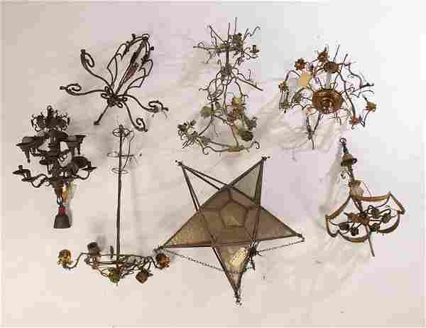 LARGE LOT CHANDELIERS & PARTS BRONZE GLASS C.1900