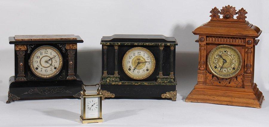 6 CLOCKS INGRAHAM GINGERBRED BLACK MANTLE 1890