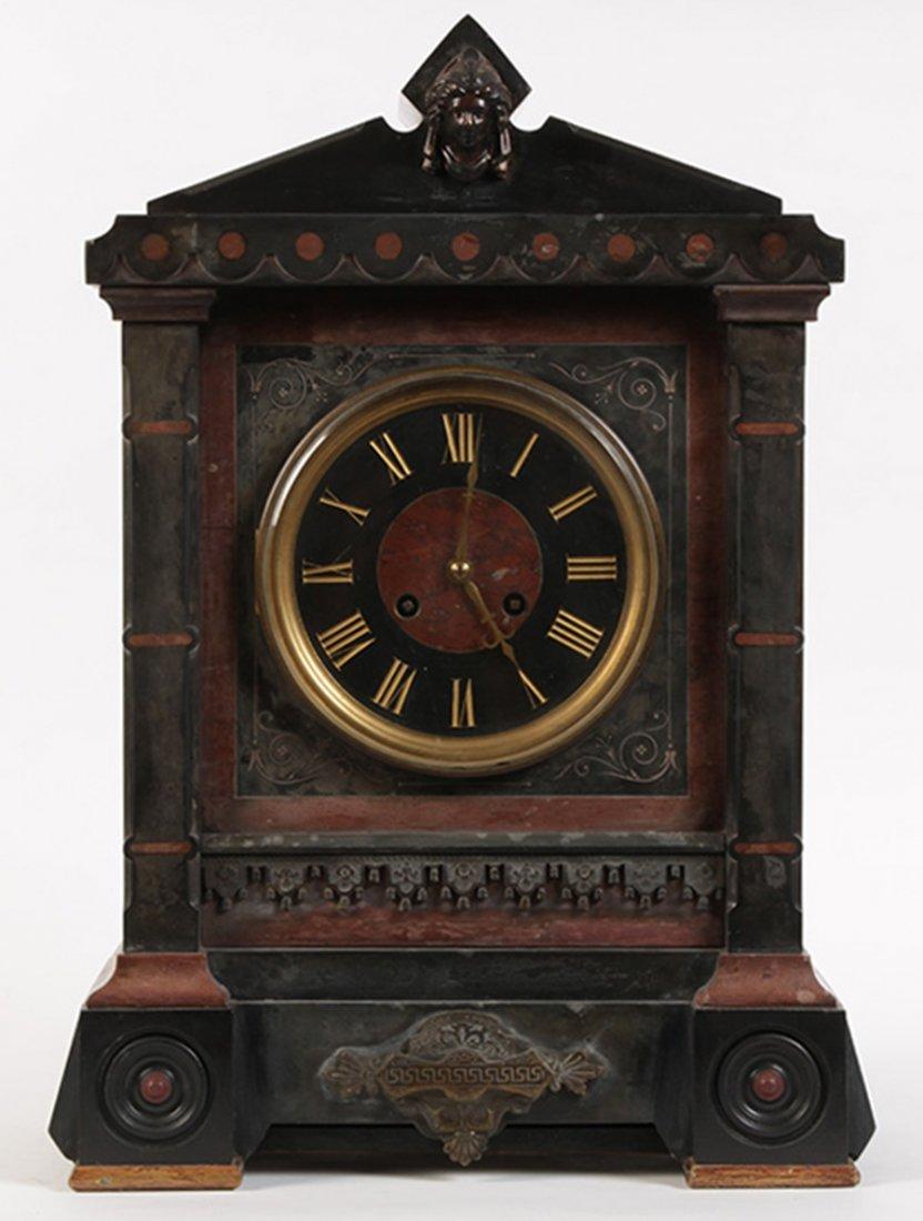 19TH C. FRENCH CLOCK TIFFANY BRONZE MARBLE