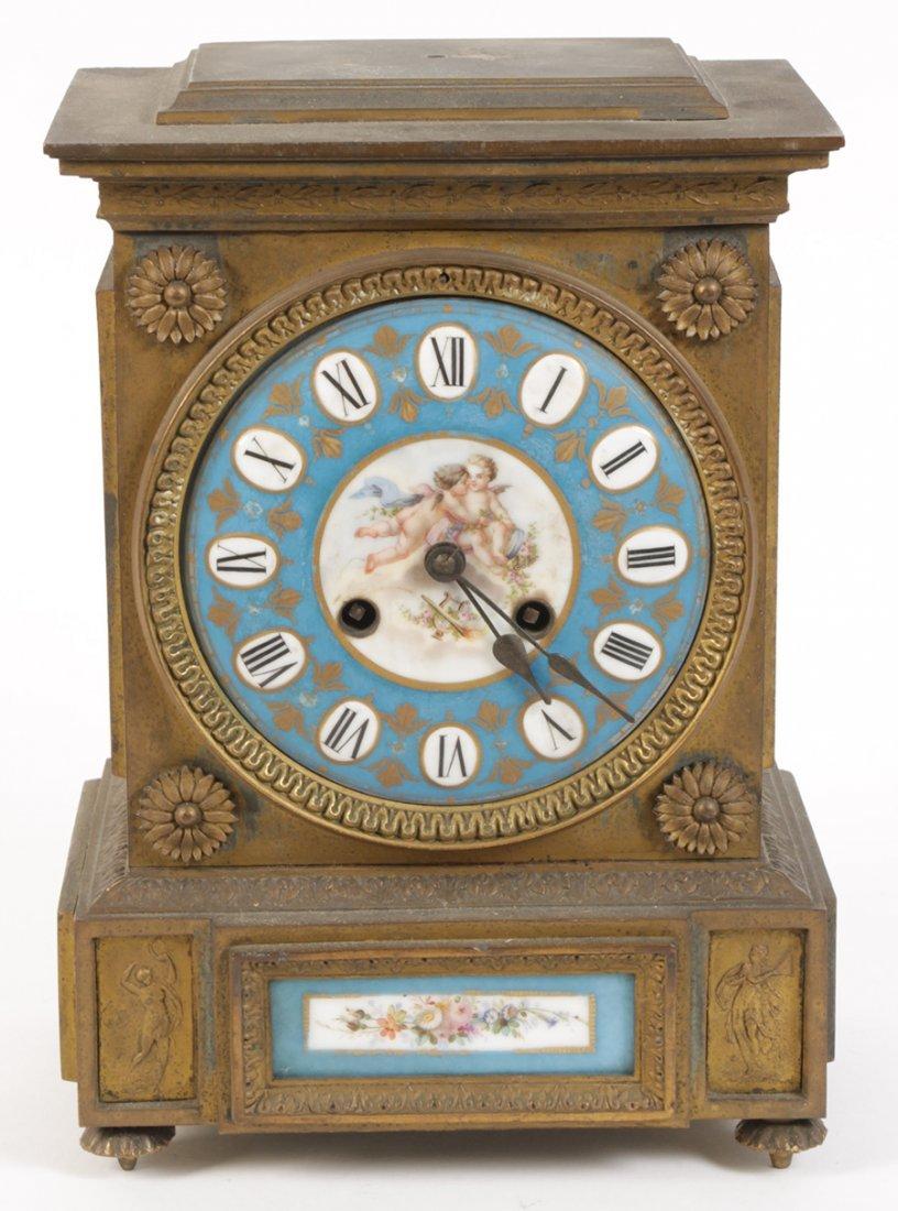 19TH C. BRONZE PORCELAIN MANTLE CLOCK CHERUBS