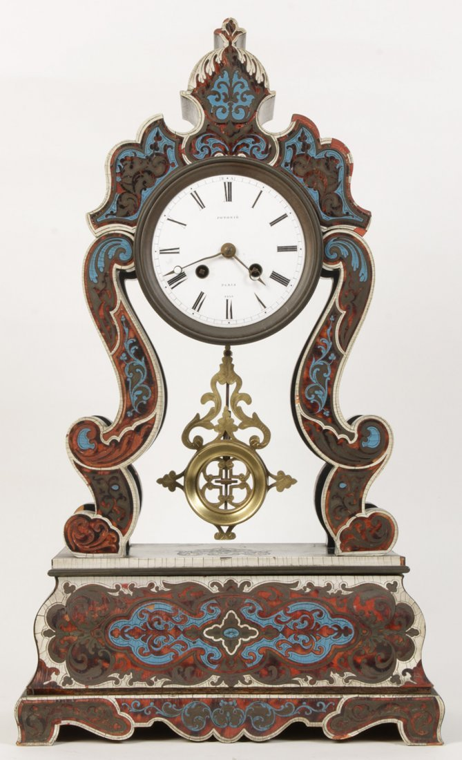 TORTOISE SHELL FRENCH CLOCK SIGNED POTONIE 1880