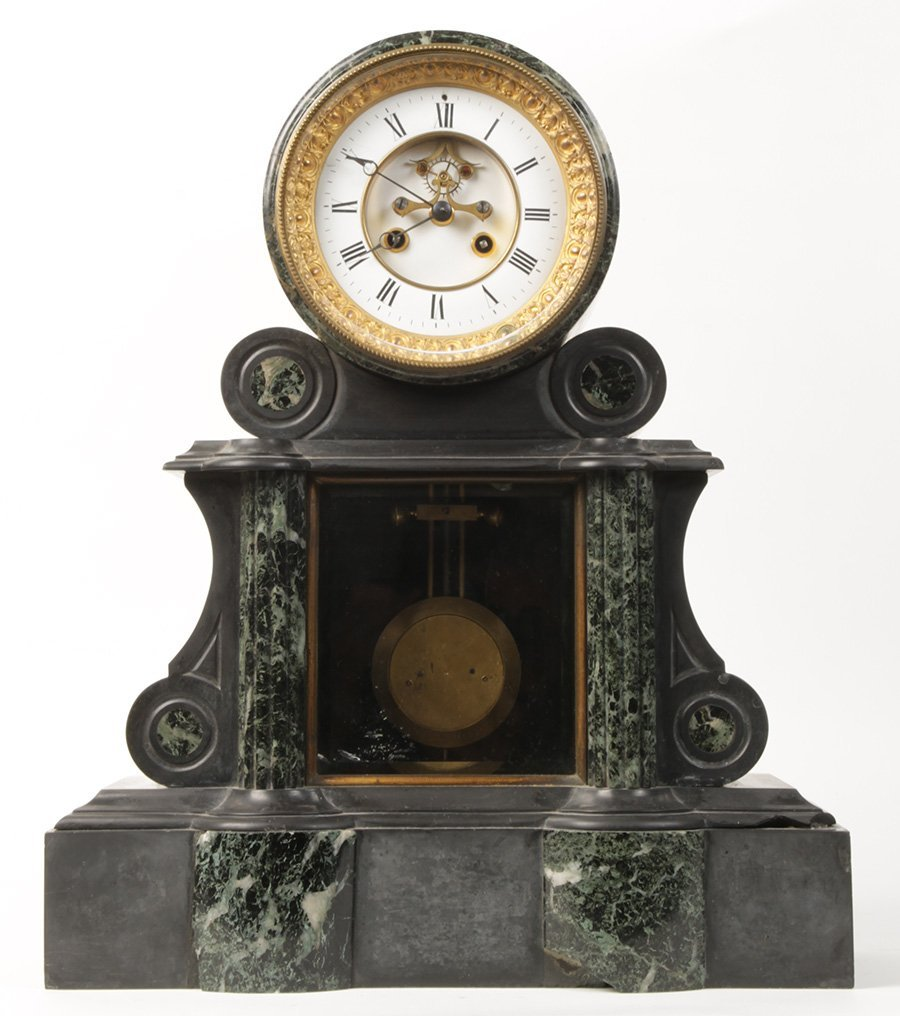 MARBLE SLATE FRENCH MANTLE CLOCK 1880
