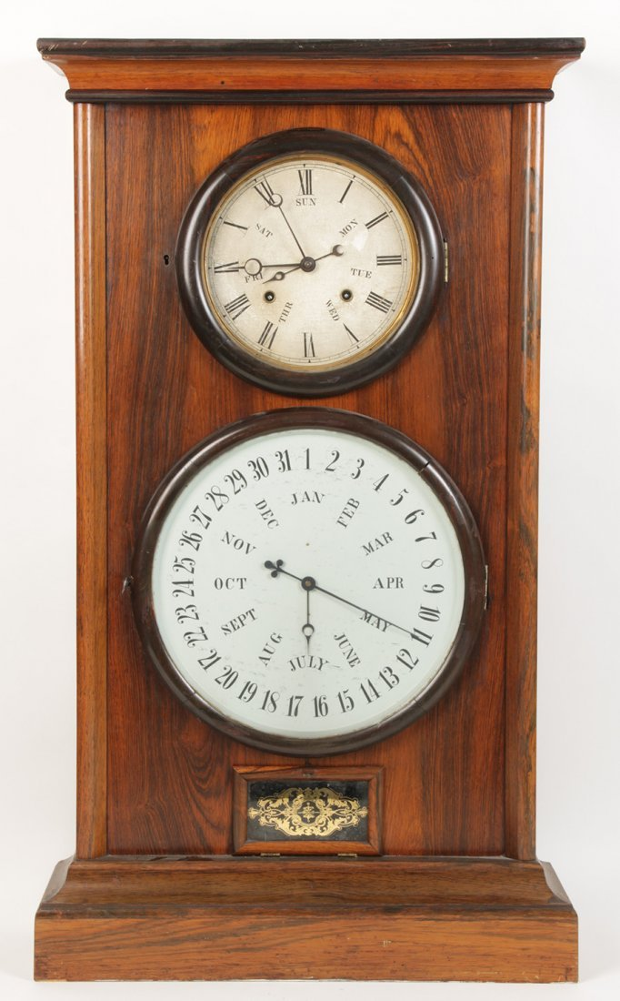 LARGE LF & WW CARTER ROSEWOOD CALENDAR CLOCK 1865