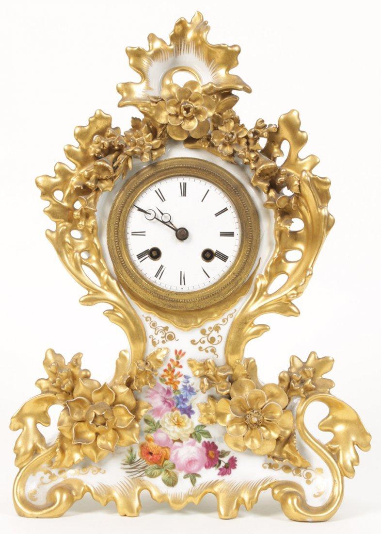 PARIS PORCELAIN FRENCH CLOCK HAND PAINTED