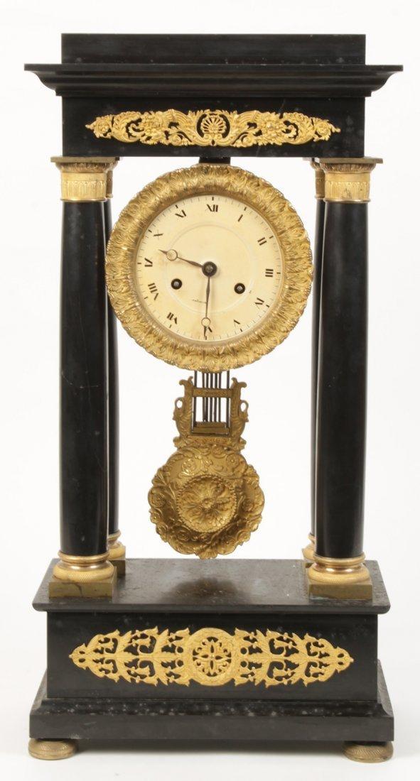 FRENCH DORE BRONZE SLATE PORTICO CLOCK 1880