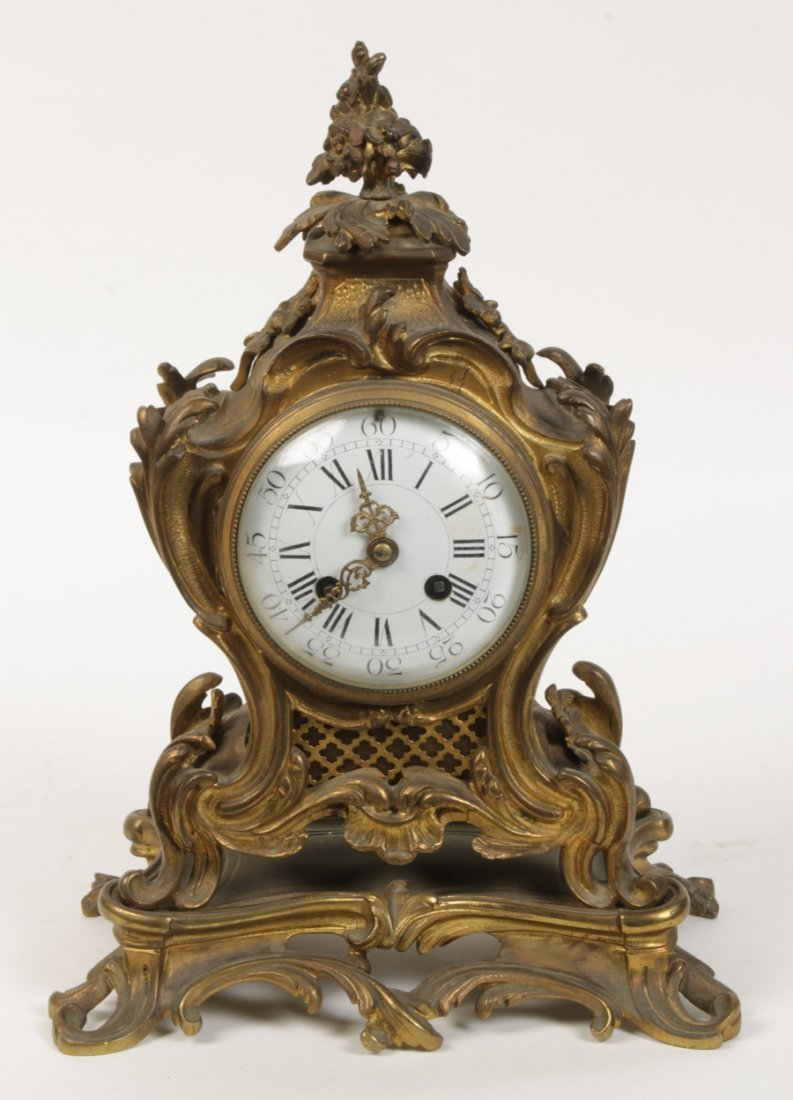 SOLID BRONZE FRENCH MANTLE CLOCK ROCOCO 1900