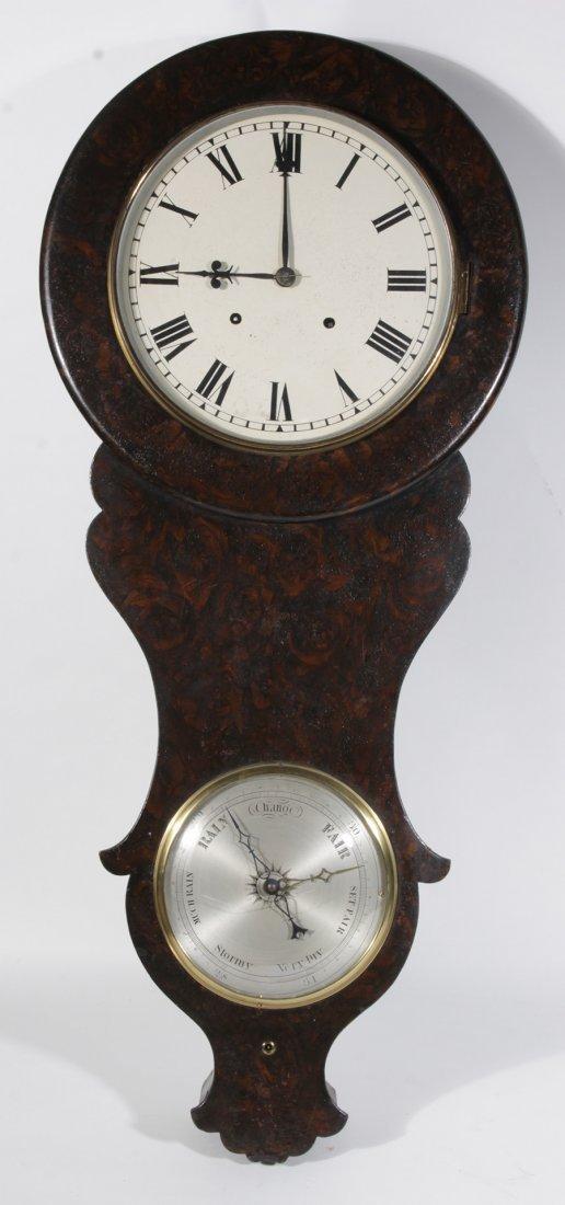 UNUSUAL HAND GRAINED CLOCK BAROMETER 1910