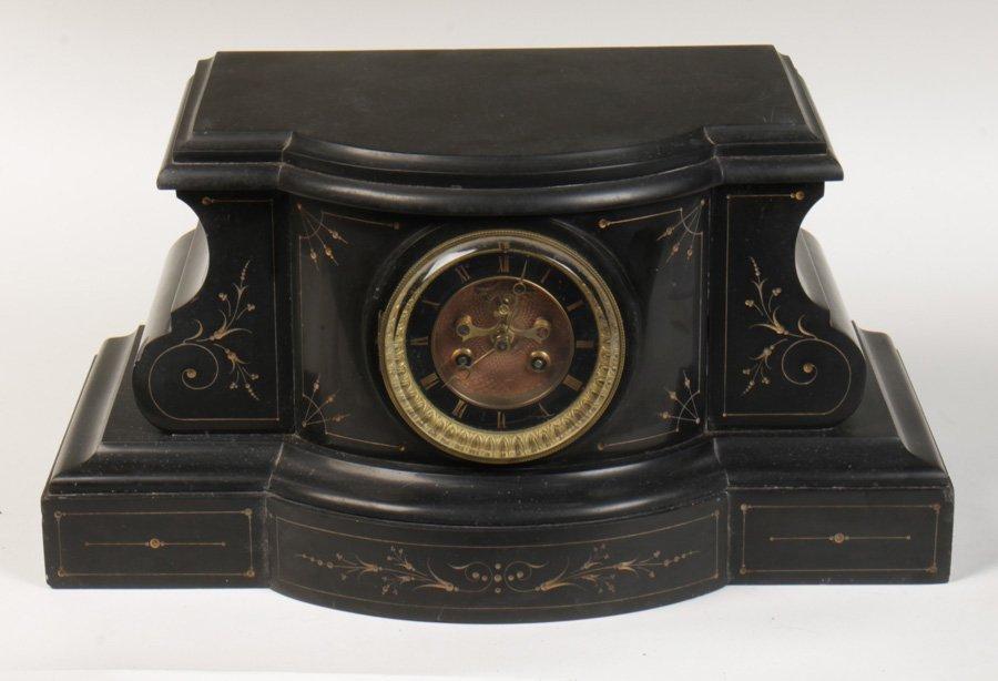 19TH C. BLACK SLATE FRENCH CLOCK 1890