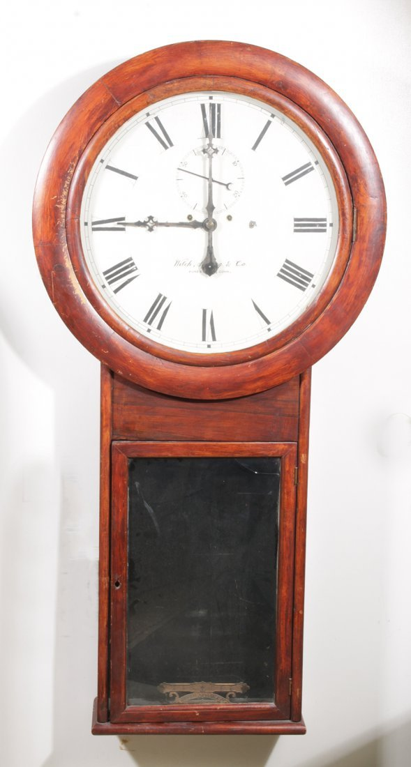 LARGE WALL REGULATOR CLOCK WELCH SPRING CO 1870