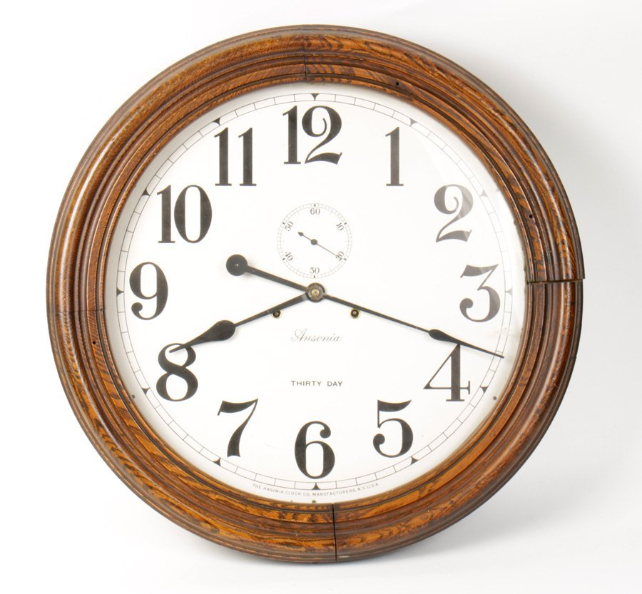 LARGE ANSONIA OAK GALLERY CLOCK 1880