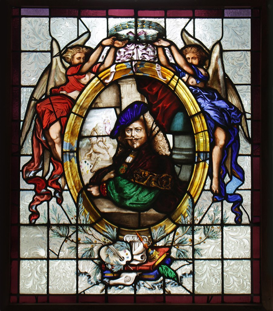 A SIGNED STAINED GLASS WINDOW PANEL LEADED 1890