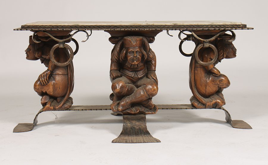 FRENCH WALNUT WROUGHT IRON COFFEE TABLE 1920