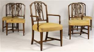 SET OF 6 SHERATON STYLE DINING CHAIRS UPHOSLTERED
