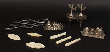 LOT 20TH C SILVER IVORY MINIATURE REED BARTON