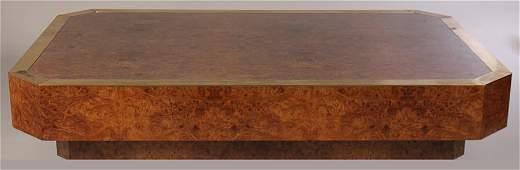 MILO BAUGHMAN STYLE BURLED WOOD COFEE TABLE 1970