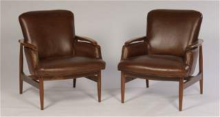 PAIR OF FINN JUHL STYLE CLUB CHAIRS FLOATING ARMS 1960