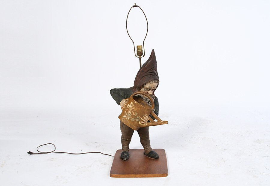 CAST TERRACOTTA GNOME LAMP WOOD BASE  1920