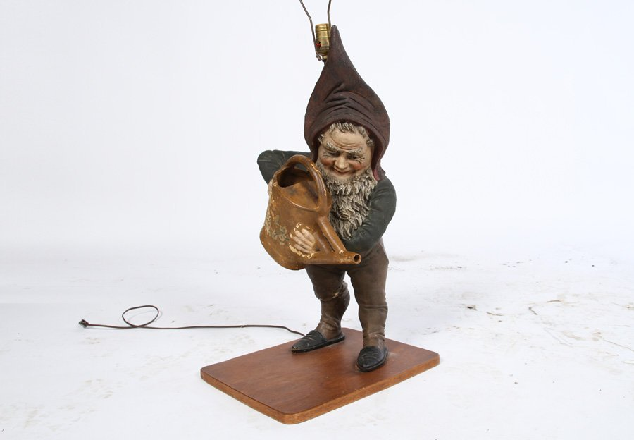 CAST TERRACOTTA GNOME LAMP WOOD BASE  1920 - 2