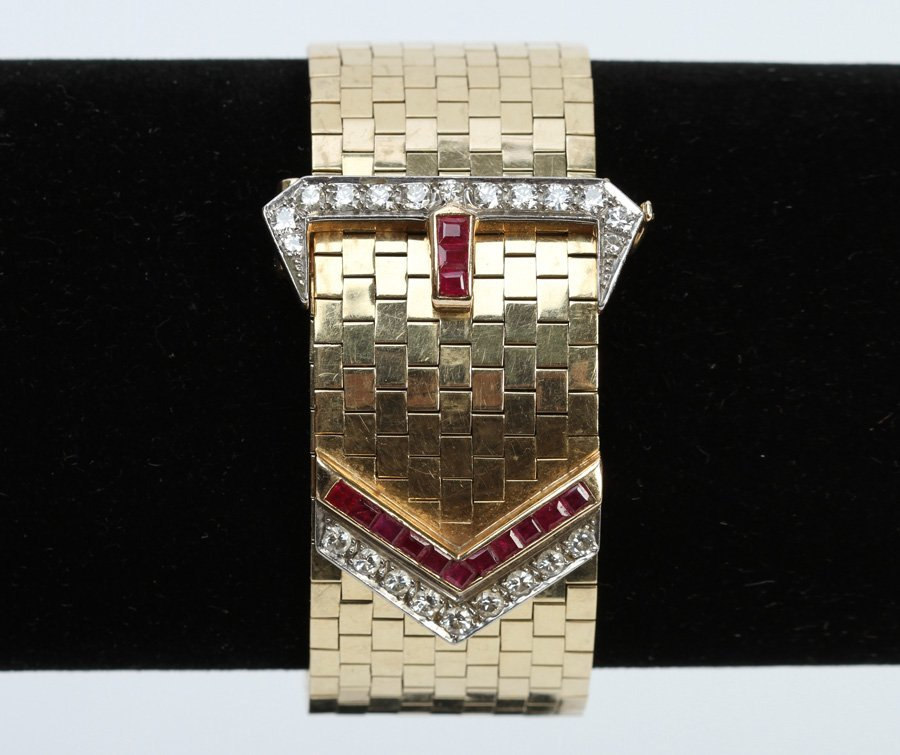 14 K GOLD DIAMOND & RUBY BRACELET 2.445 TROY OZ