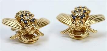 PR TIFFANY & CO 18K GOLD DIAMOND RUBY EARRINGS
