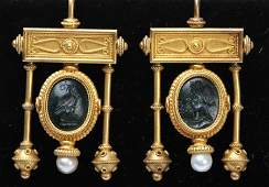 PAIR 18 K YELLOW GOLD VICTORIAN EARRINGS C1870