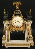 LARGE MARBLE  BRONZE FRENCH MANTEL CLOCK C 1890