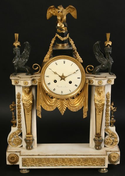 LARGE MARBLE & BRONZE FRENCH MANTEL CLOCK C. 1890