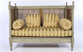 19TH C. LOUIS 16 PAINTED CARVED DAYBED
