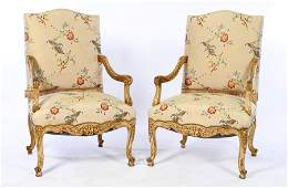 PAIR CARVED GILT WALNUT OPEN ARM CHAIRS 1920