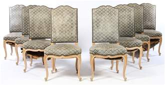 SET 8 FRENCH UPHOLSTERED DINING CHAIRS 1940