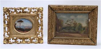 COLLECTION 2 ANTIQUE PAITNINGS OIL CANVAS SIGNED