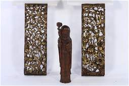 3 WOODEN ITEMS PAIR ASIAN PLAQUES CHINESE FIGURE
