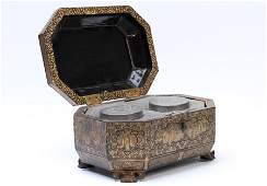 CHINESE CASKET FORM 8 SIDED TEA CADDY 1860