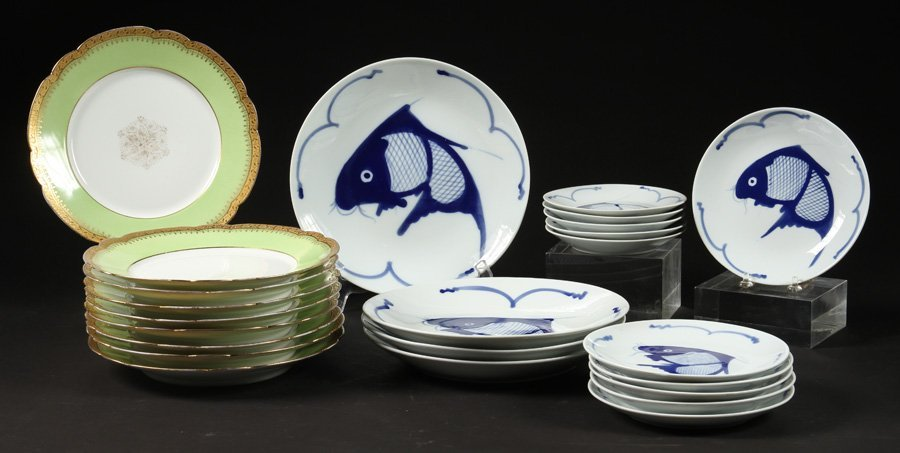 LIMOGE DINNER PLATES & CHINESE DINNERWARE SERVICE