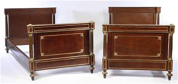 PR FRENCH MAHOGANY BRONZE MOUNTED BEDS 1880