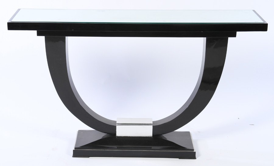Wood art deco console table chrome ebonized wood art deco console table chrome geotapseo Image collections