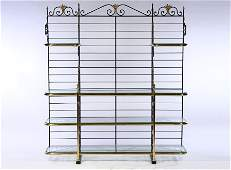 WROUGHT IRON AND BRASS BAKERS RACK