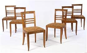 SET 6 FRENCH OAK DINING CHAIRS LADDER BACK 1940