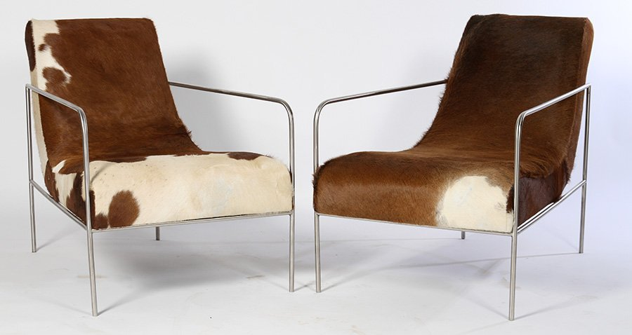 PAIR STYLISH COWHIDE UPHOLSTERED CLUB CHAIRS