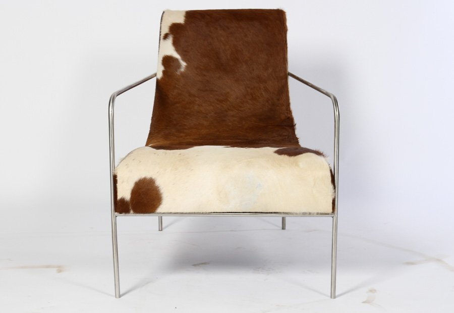 PAIR STYLISH COWHIDE UPHOLSTERED CLUB CHAIRS - 2